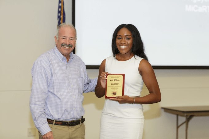 "Casandra Walker of the Advanced ReTOOL Program won 1st place for her project entitled, ""Arresting Prostate Cancer Growth Using Novel Peptides"""